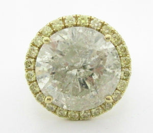 12.52Ct Round Cut Diamond Solitaire Halo Engagement Ring I-J I2 18k Yellow Gold
