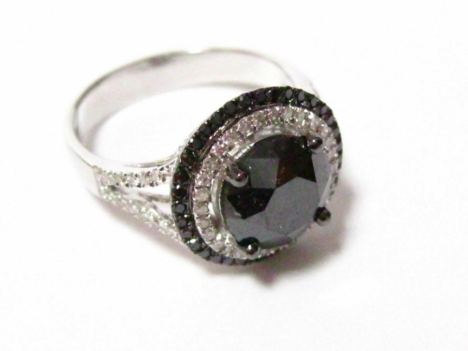 5.20 TCW Halo Natural Black Diamond Anniversary/Cocktail Ring Size 6.75 14k Gold