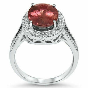 4.88 TCW Oval Purple Pink Tourmaline & Diamond Ring 14k White Gold Size 7