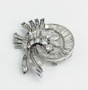 Antique 7.50 Carats t.w. Diamond Brooch/Pin 18K Gold F-G VS Diamonds 85Diamonds