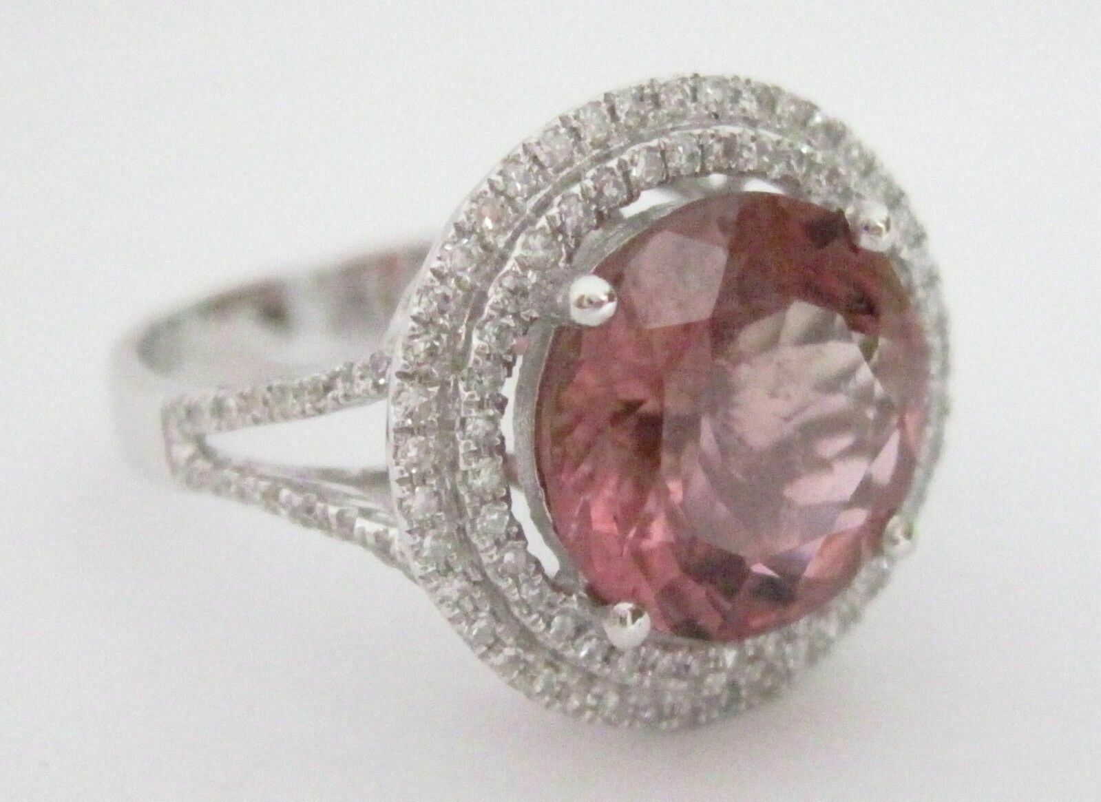 4.50 TCW Natural Round Tourmaline & Diamond Accents Ring Size 7 18k White Gold