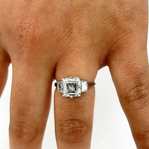 Huge Look D IF 2.84Ct Antique Step Cut GIA Diamond Art Deco PLAT Engagement Ring