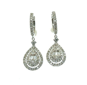 1.50 Carats Invisible Baguette and Round Diamond Halo Earrings 18K White Gold