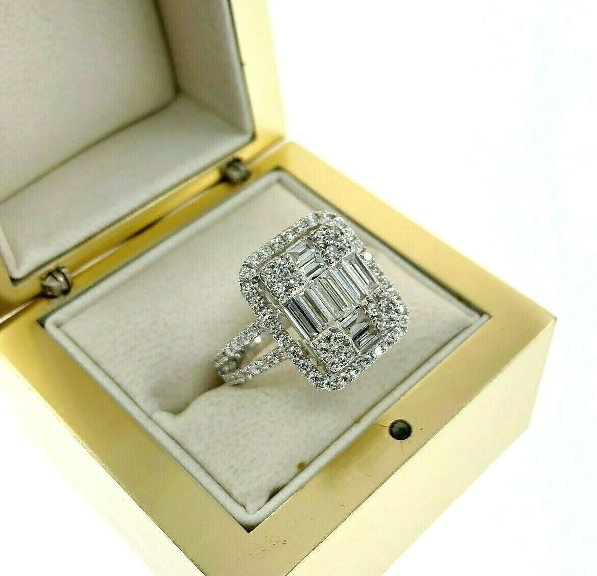 2.02 Carats Diamond Wedding Anniversary Ring Large Invisible Set Halo Center 18K