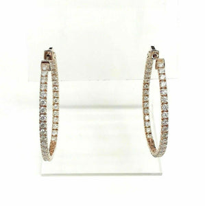 2.72 Carats t.w. Diamond Oval Inside Out Hoop Earrings 14 Karat Rose Gold