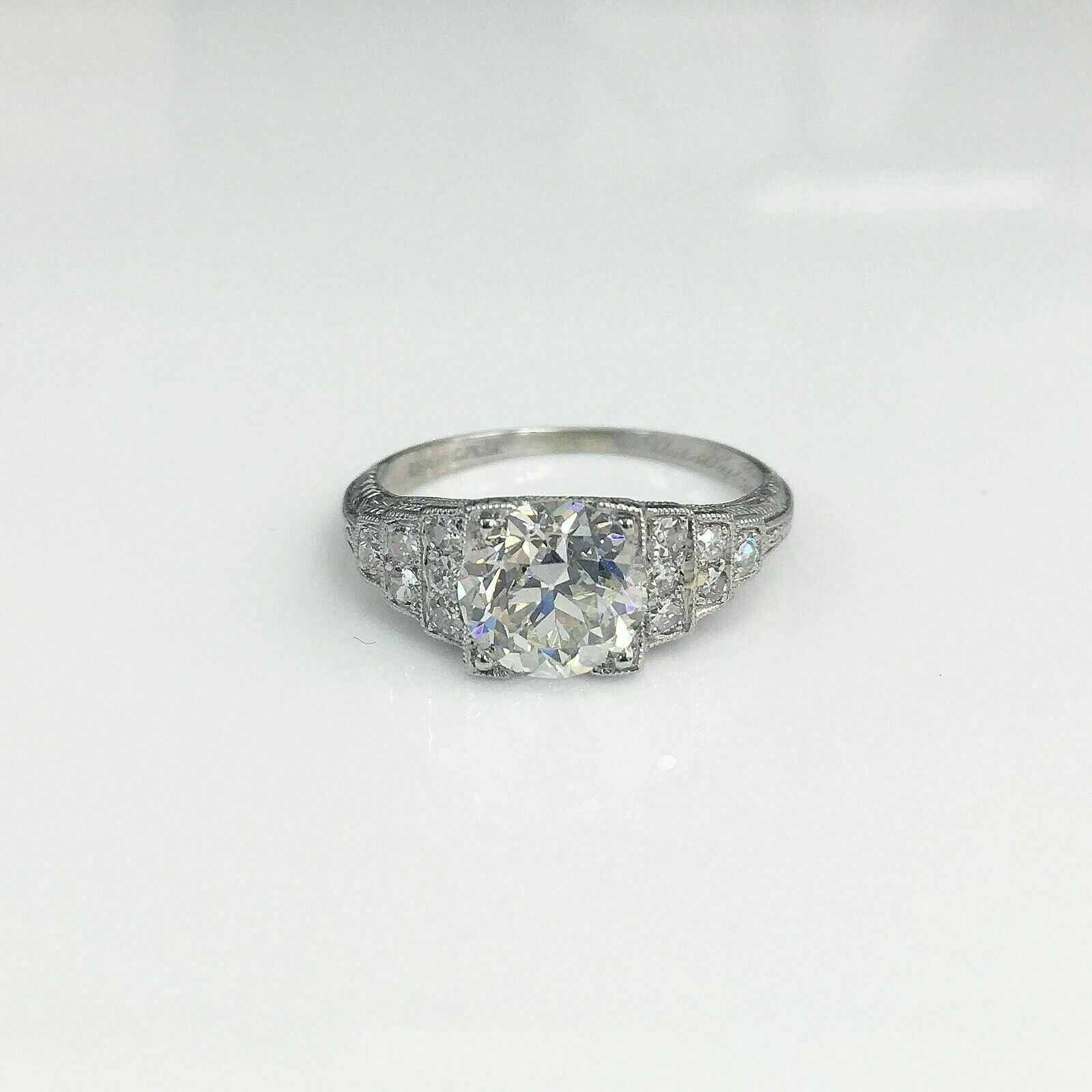 1.70 Carats Antique Art Deco Wedding Diamond Ring GIA Certificate Included 1930s