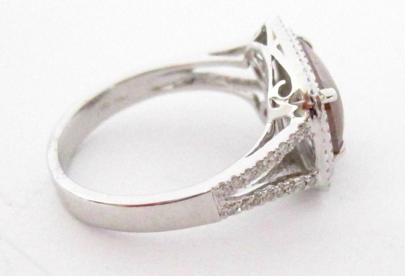 2.62 TCW Natural Cushion Champagne Diamond Cocktail Ring Size 6.5 14k White Gold