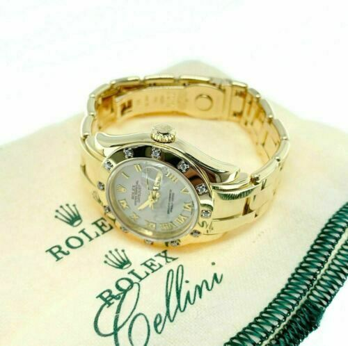 Rolex 29MM Pearlmaster 18k Yellow Gold Ladies Watch 80318 D Factory Diamond