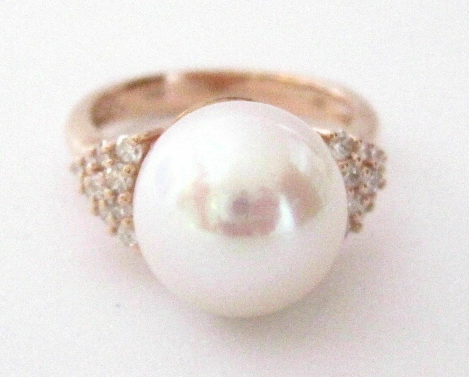 11mm White Pink Pearl w/ Diamond Accents Solitaire Ring 14kt Rose Gold Size 7