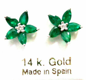 FINE 2.02 TCW Flower Marquise Emerald Gem & Diamond Stud Earrings 14k WG