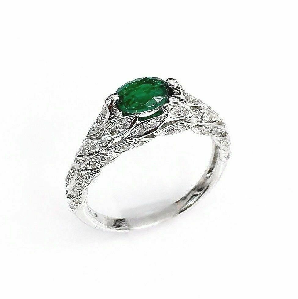 Solid 18K Gold and 0.94 Carat t.w. Diamond and Emerald Olive Branch Ring 3 Sided