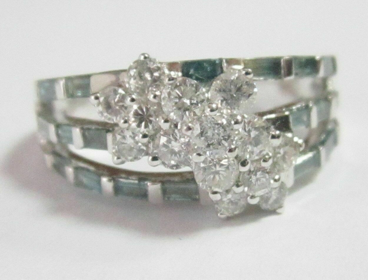 1.30 TCW Round & Baguette, White & Blue Diamonds Flower Ring Size 7 14k WGold