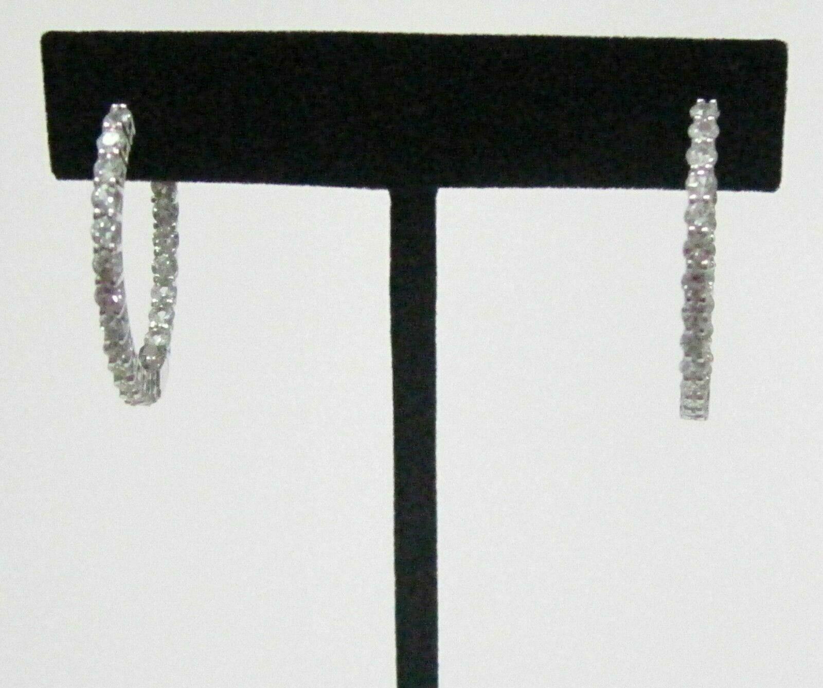 29mm 3.91 TCW Round Hoops In & Out White Sapphire Earrings 14kt White Gold