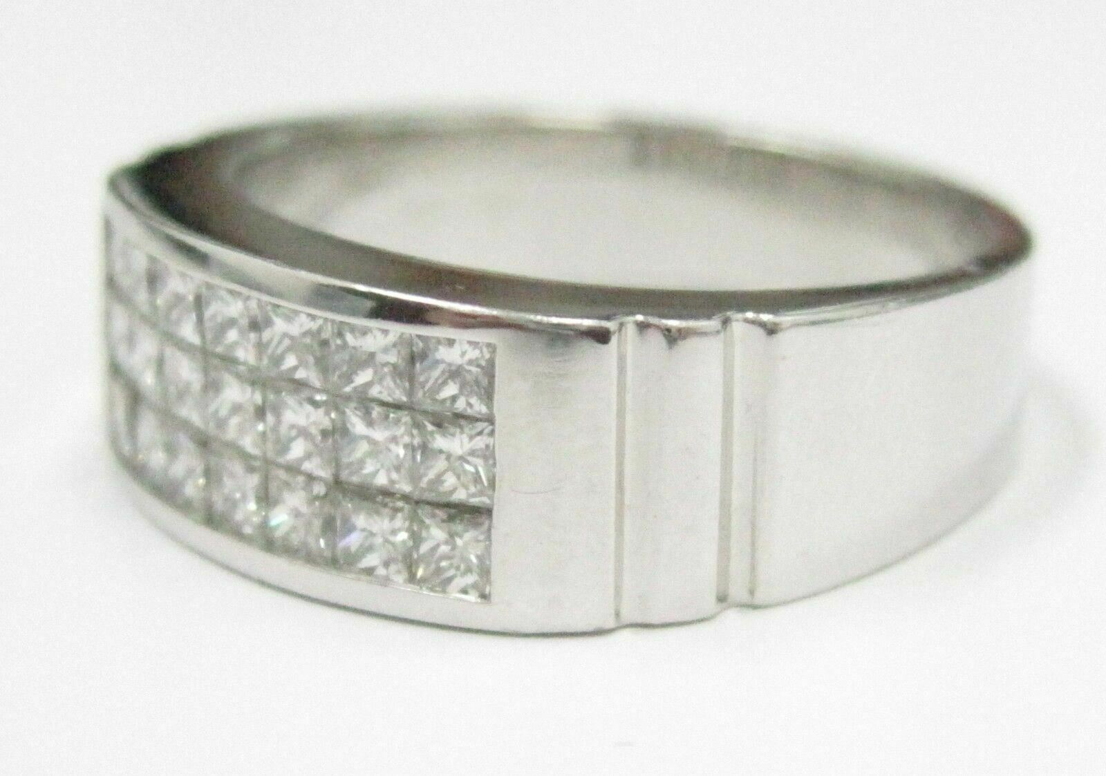 1.35 TCW Men's 3 Row Princess Cut Diamond Ring/Band Size 10 14kt White Gold