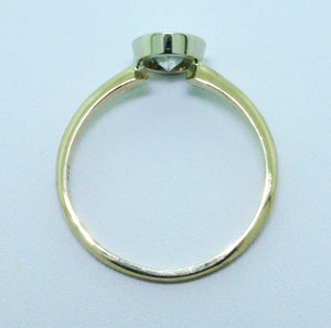 0.64 Ct Round Cut Diamond Bezel Solitaire Engagement Ring H-I I1 14k 2 Tone Gold