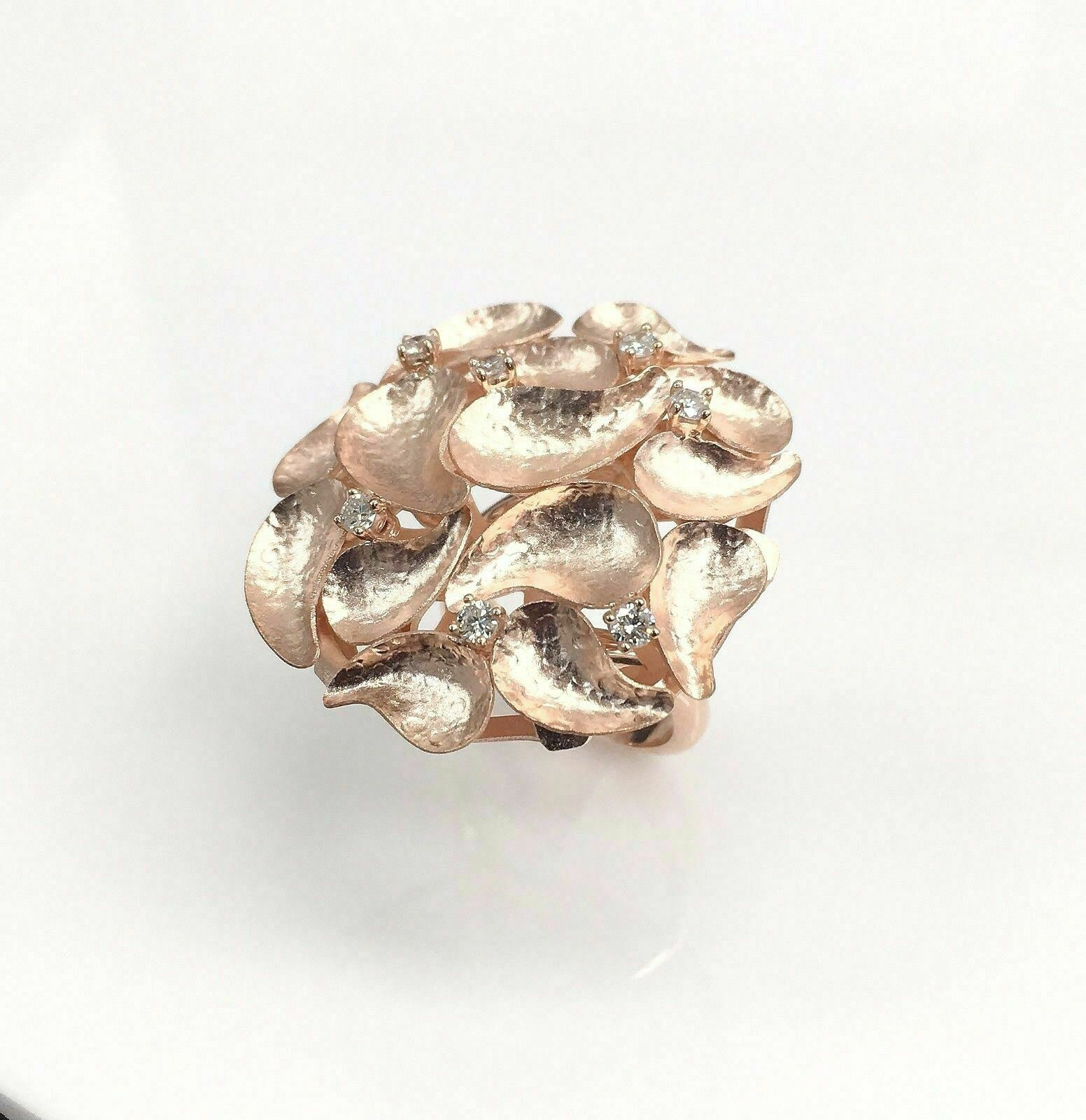 0.38 Carats t.w. Custom Made Diamond Bouquet Ring 18K Rose Gold Brand New