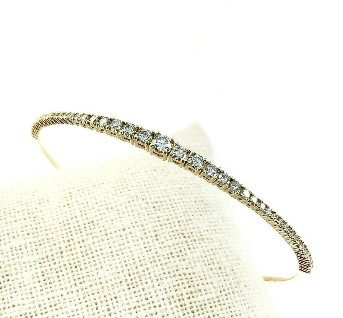1.14 Carats Graduated Round Diamond Soft Flexible Bangle Bracelet 14K YellowGold