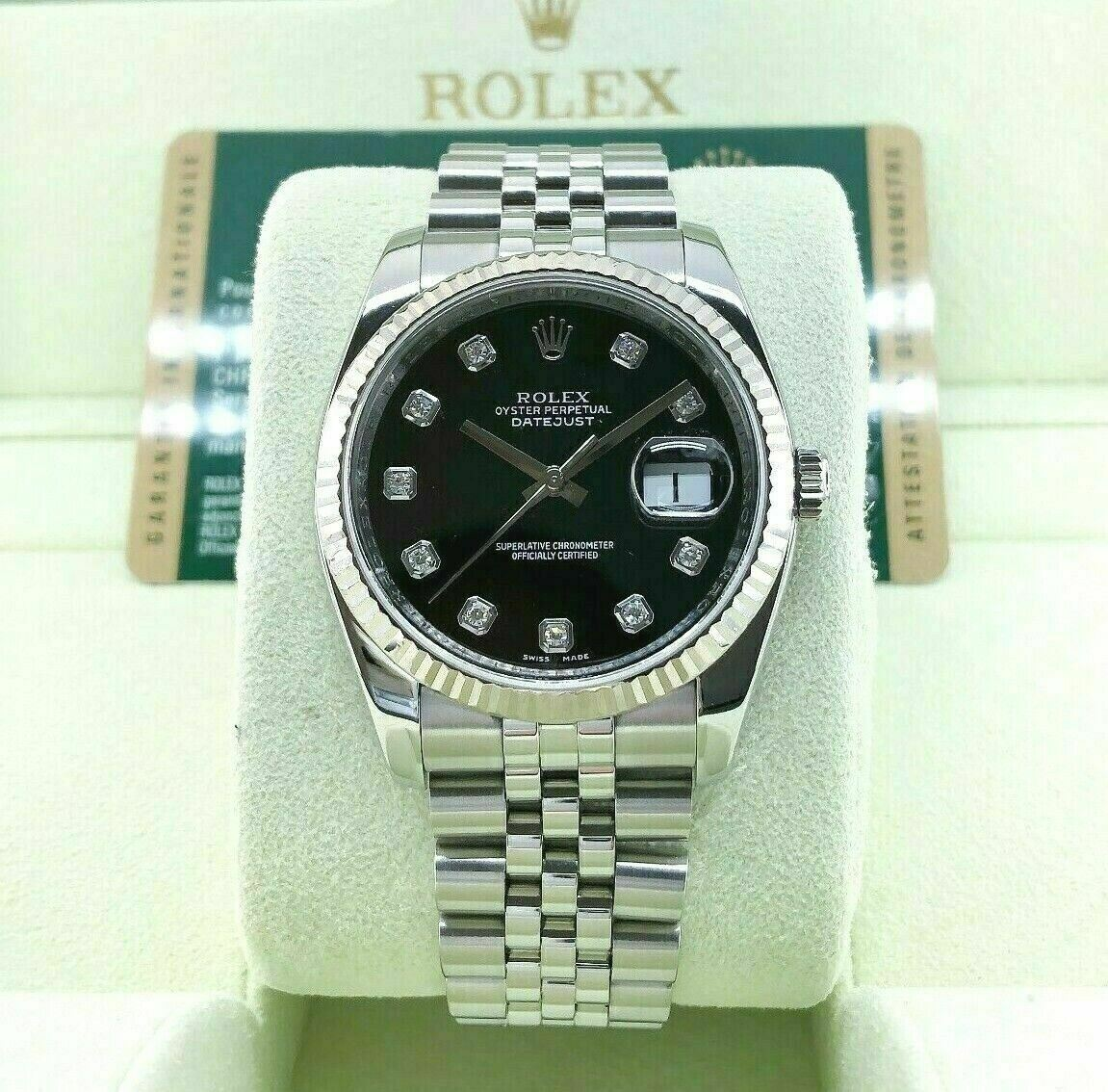 Rolex 36 MM Factory Diamond Datejust 18 Karat White Gold Steel Watch Ref #116234