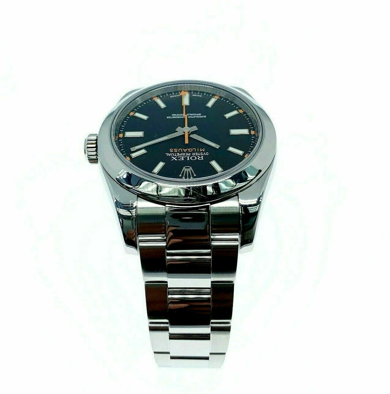 Rolex 40MM Milgauss Watch Stainless Steel Oyster Smooth Bezel Ref # 116400