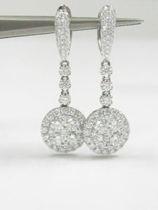 1.74 TCW Round Cut Diamond Illusion Drop Dangling Earrings F VS-2 18k White Gold