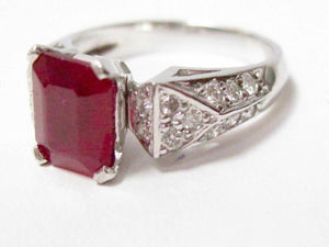 Radiant Red Ruby & Diamond Accents Solitaire Ring Size 7 14k White Gold