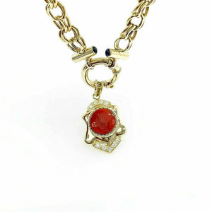 Solid 18 Karat Yellow Gold charm Necklace with H VS Diamond and Agate Enhancer