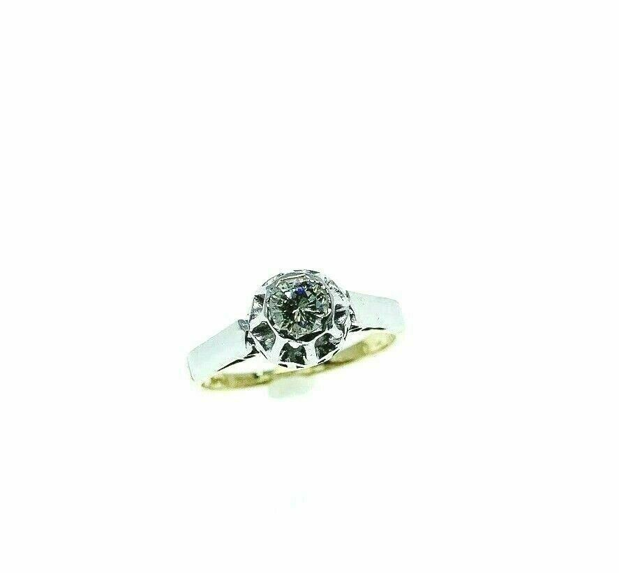 Estate Platinum 14K Gold Round Diamond Wedding Ring Circa 1970's 0.25 Carat