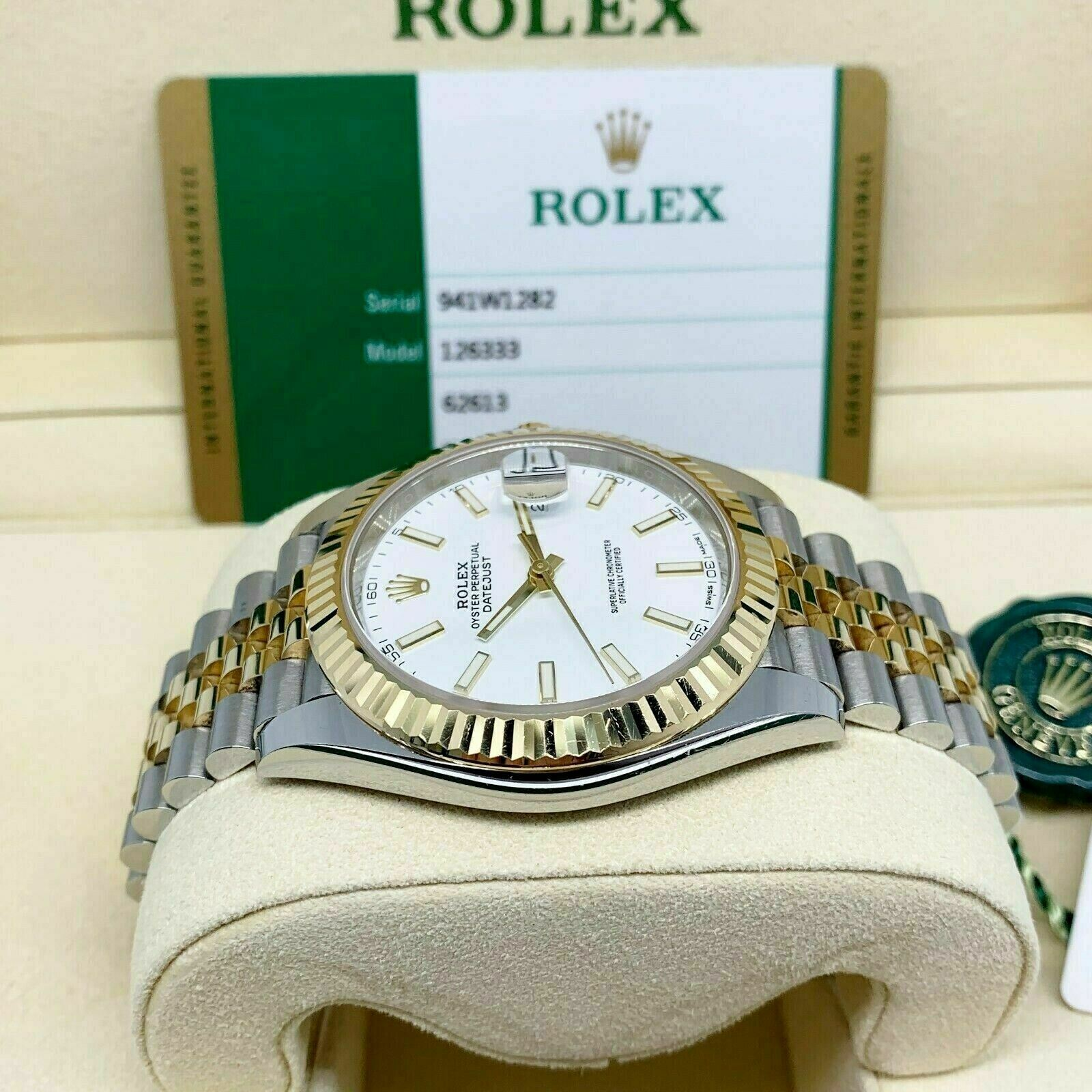 Rolex 41MM Datejust II Watch 18K Yellow Gold Stainless Steel Ref 126333 BoxCard