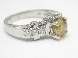 2.11 TCW HPHT Round Fancy Yellow Solitaire Diamond Engagement Ring 14kt WG