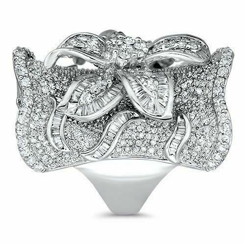 4.83 Carats t.w. Diamond Anniversary Statement Ring 18K Gold 1.35 Inch Length