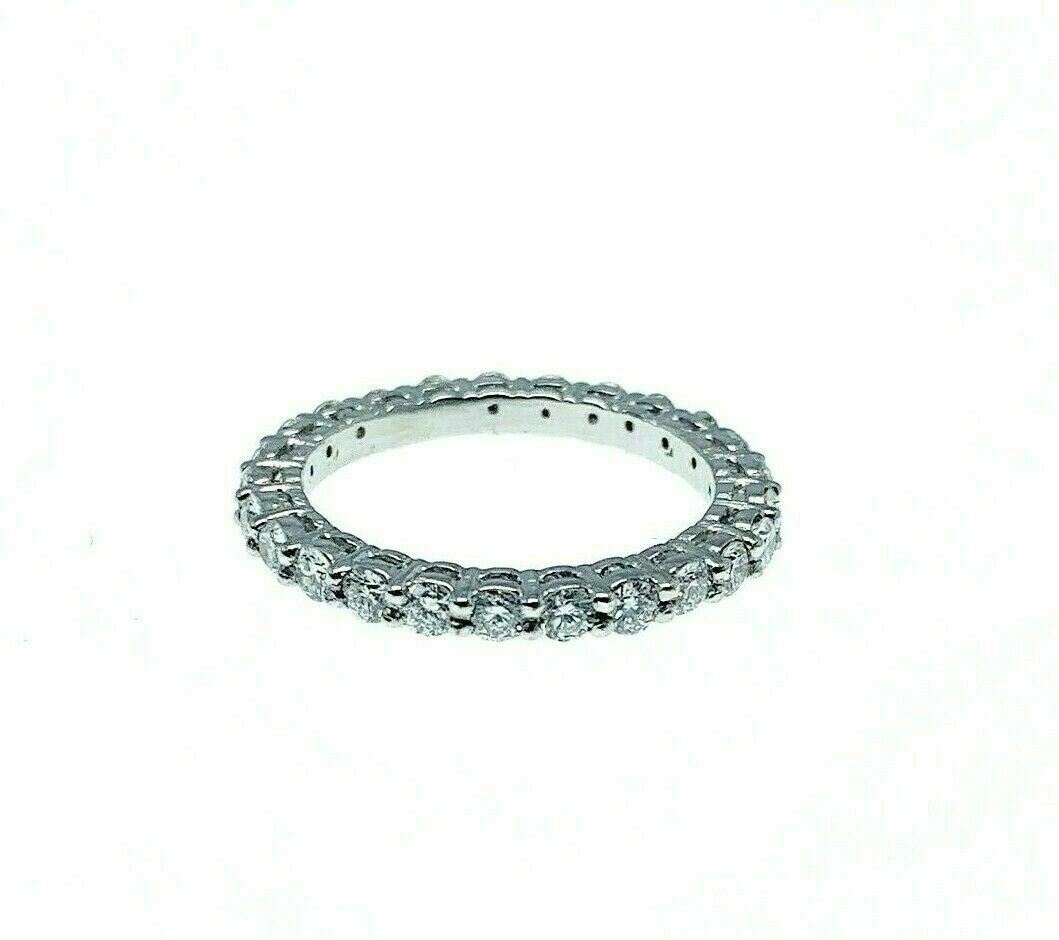 1.00 Carats Round Brilliant Eternity Platinum Diamond Ring F - G VS Diamonds