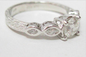 .86 Tcw Round & Marquise Diamond Engagement Ring Size 7.5 F-G SI1 14k White Gold