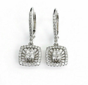 0.58 Carat t.w. Diamond Halo Dangle Earrings 18 Karat White Gold Brand New