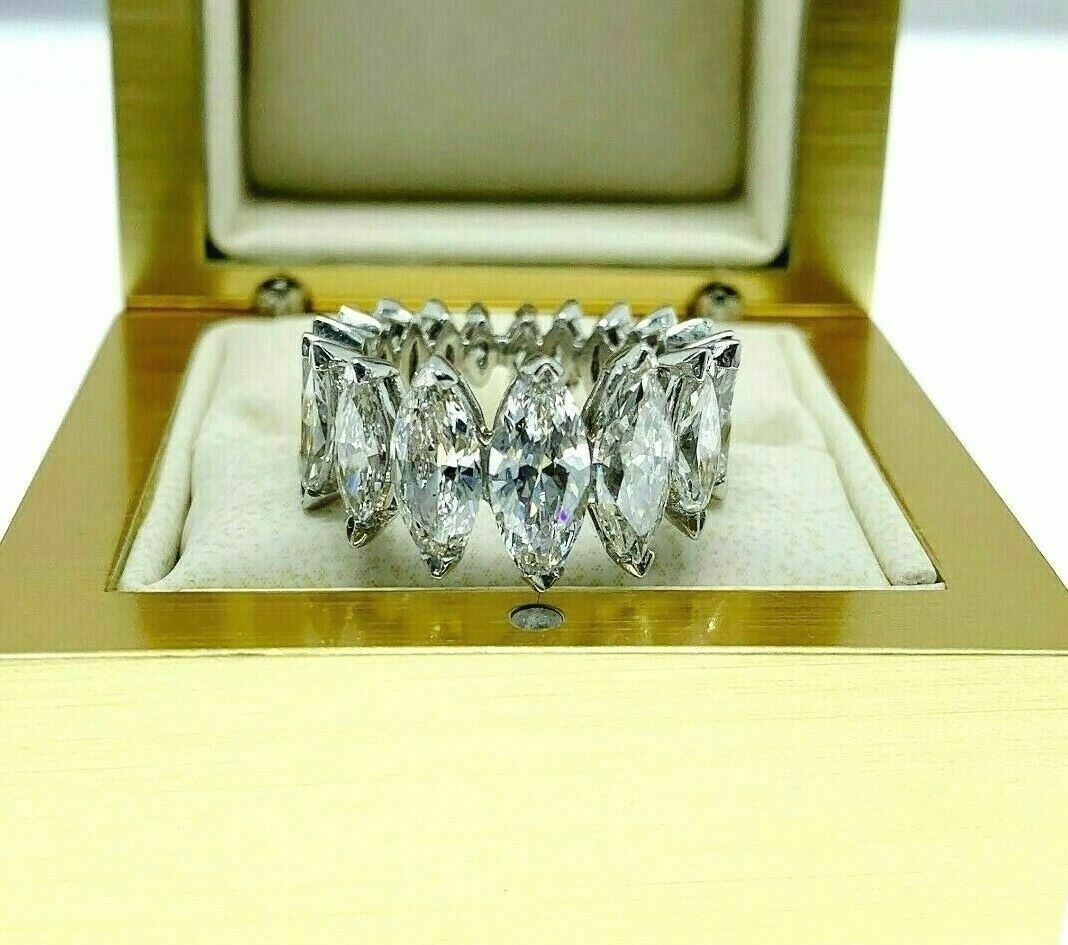 Estate 5.62 Carats t.w. Marquise Diamond Eternity Anniversary Ring D - F Color
