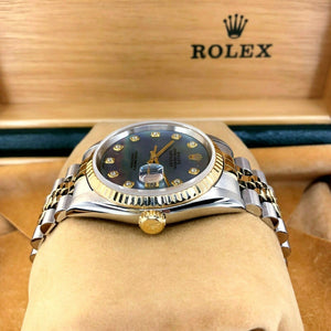 Rolex 36MM Datejust Diamond Watch 18K Gold Steel Ref 16233 MOP Diamond Dial