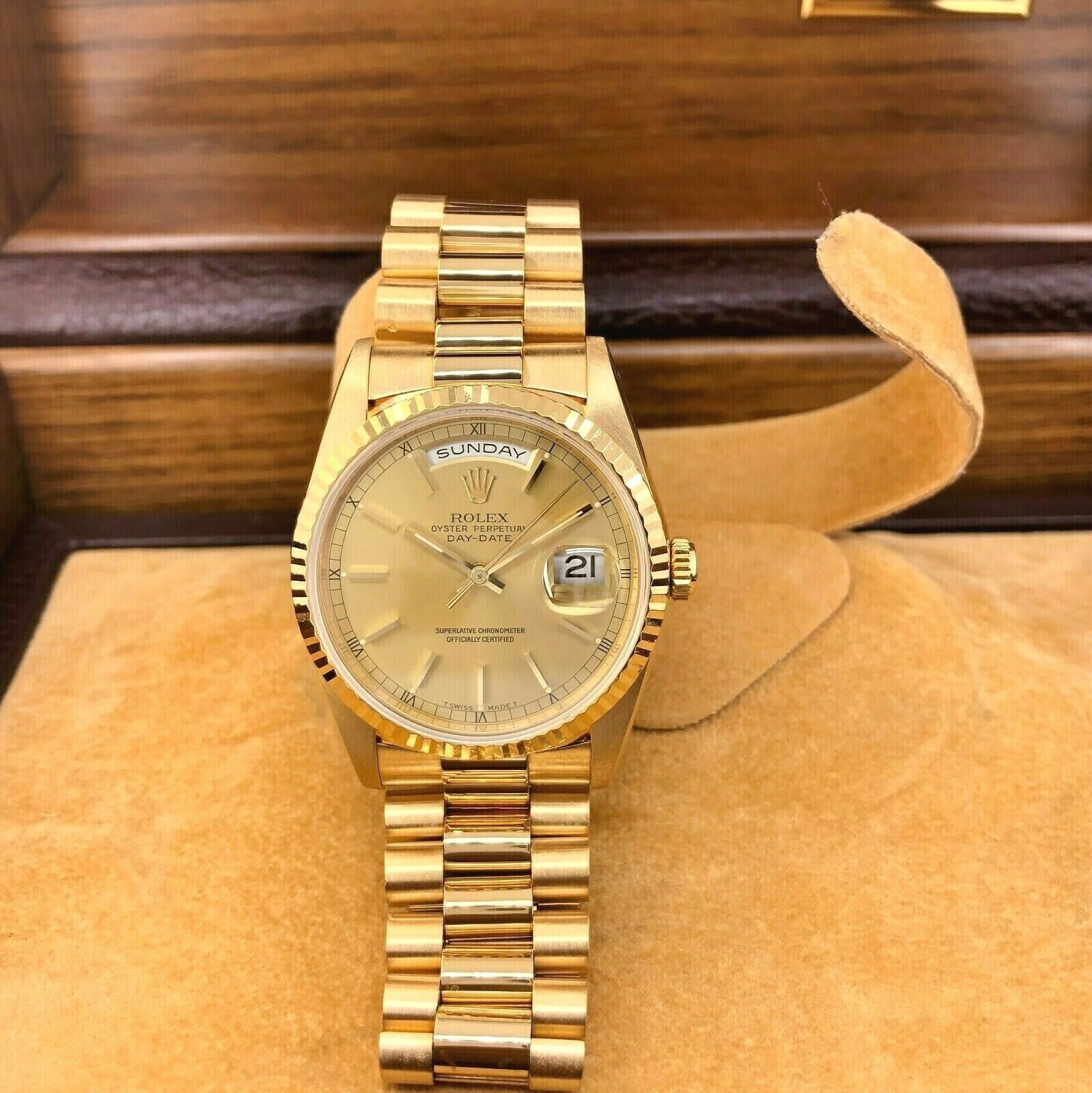 Rolex Day Date President 18K Yellow Gold 36mm Watch 18238 Factory Dial BoxPapers