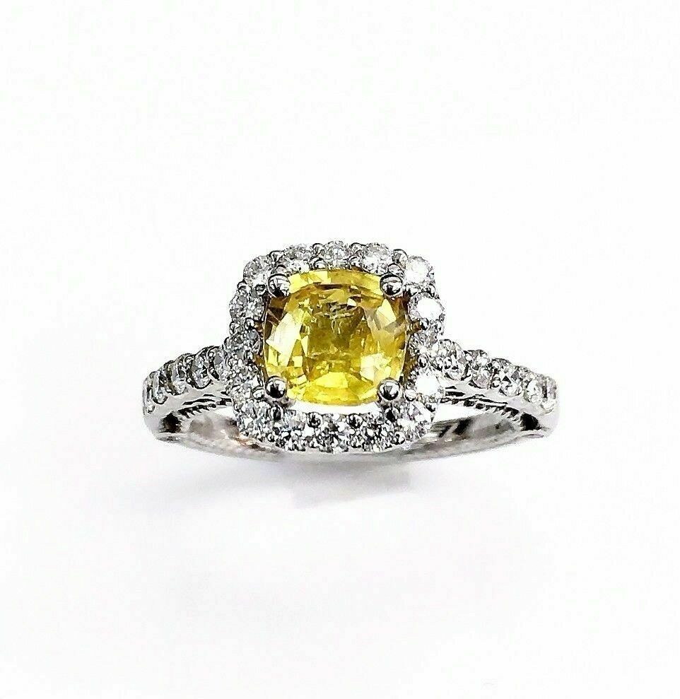 1.92 Carats t.w. Diamond and Yellow Sapphire Halo 14K Gold and 3 Sided Ring New