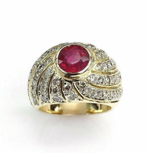 2.22 Carats t.w. Diamond and Ruby Ring Diamonds on all Sides 14K Gold Brand New