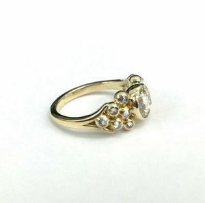 Fine .52 TCW Rose Cut Round Diamond Cocktail/Engagement Ring Size 5.75 14k YGold