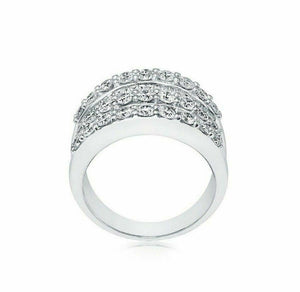 2.40 TCW Diamond Round and Baguette Layers 14k White Gold Cocktail Ring Size 7