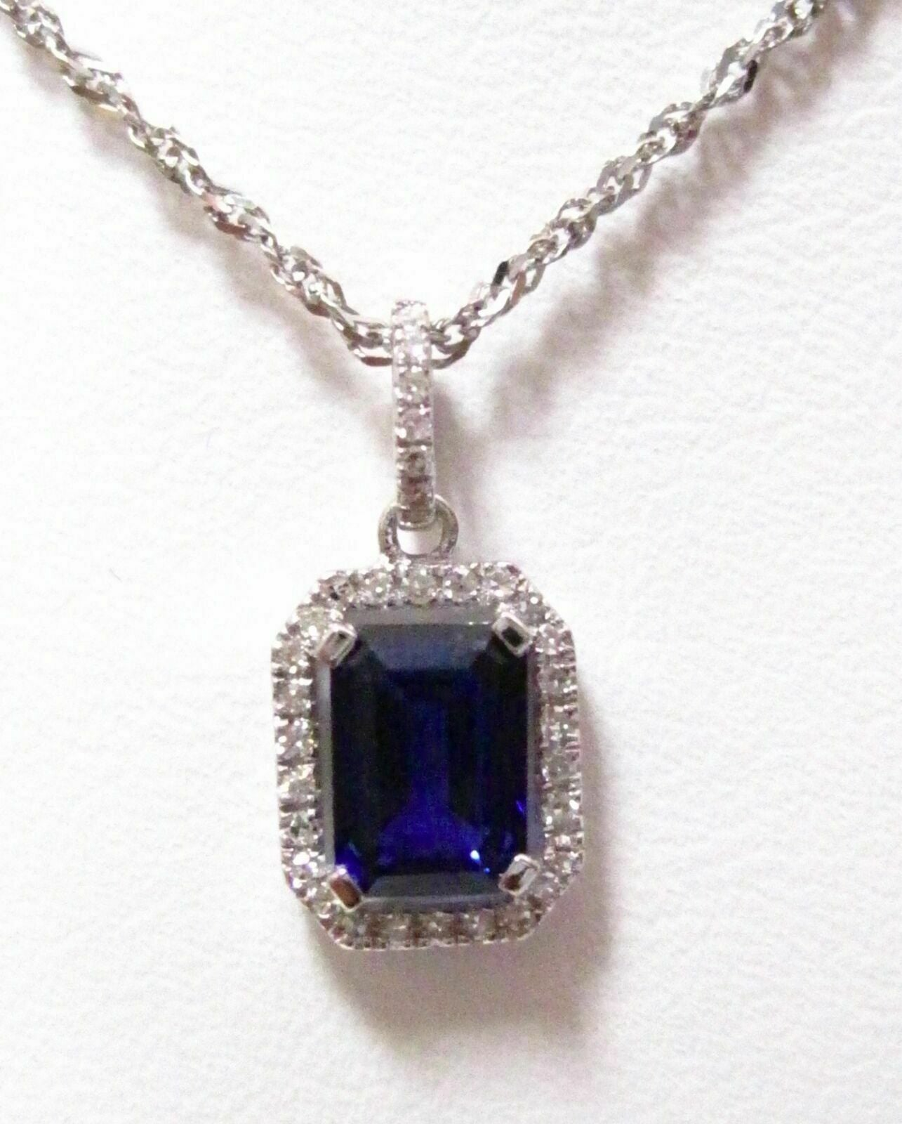 1.30Ct Radiant Cut Blue Sapphire & Diamond Accents Pendant 14k White Gold