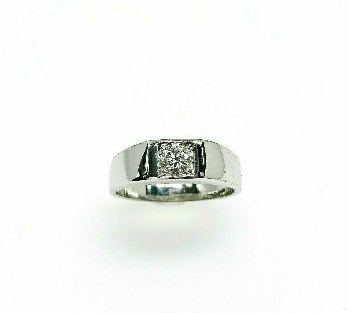 0.47 Carats Round Brilliant Cut Diamond Mens Wedding Ring Solid Platinum