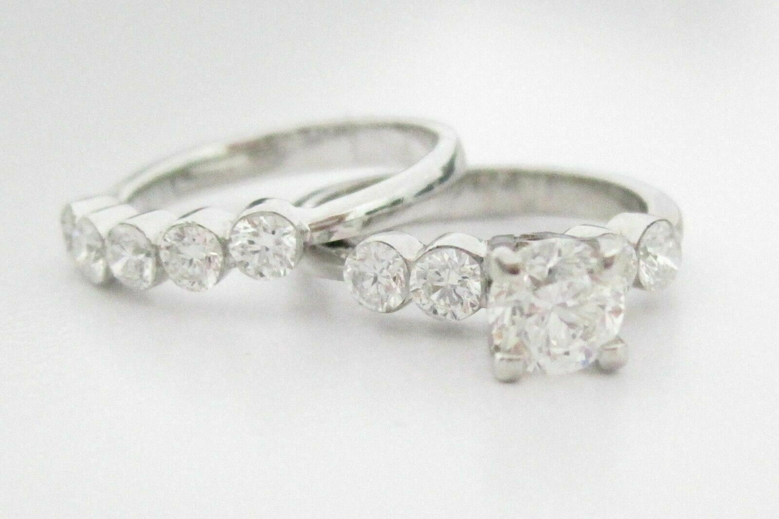 2.25 TCW 2 Piece Round Cut Diamond Wedding Ring Set G SI-1 Size 5.5 18k WGold