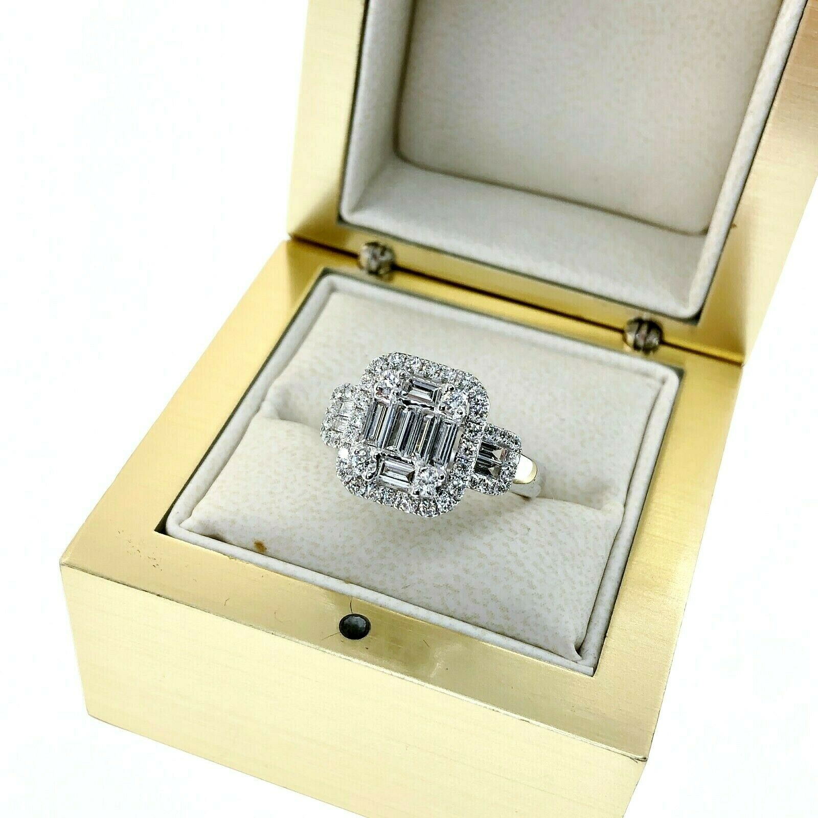 1.23 Carats Diamond Wedding Anniversary Ring Invisible Set Halo Center 18K
