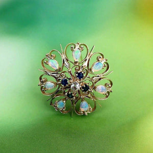 Antique 1.77 Carats t.w. Diamond Opal Sapphire Brooch/Pin Old Mine Diamond 14K