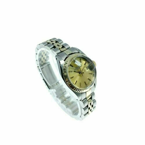 Vintage Rolex 26 MM Lady Date 14 Karat Yellow Gold Steel Watch Ref # 6917 1970's