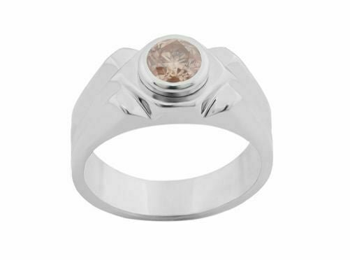 .91 Ct EGL Fancy Pinkish Brown Round Diamond Solitaire Ring I1 14k White Gold