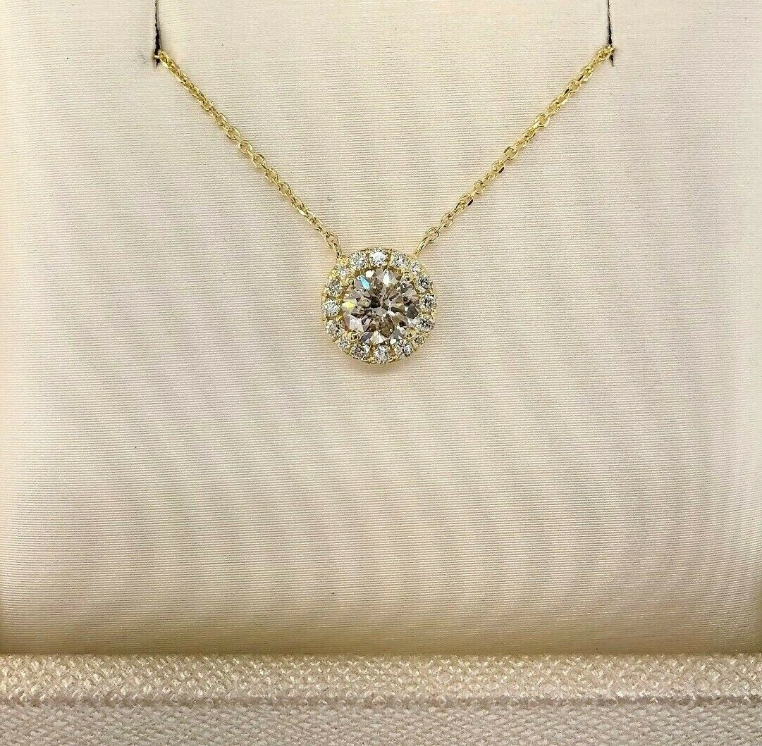0.67 Carats t.w. Round Diamond Halo Necklace Pendant 0.52 Carat Center 14K Gold