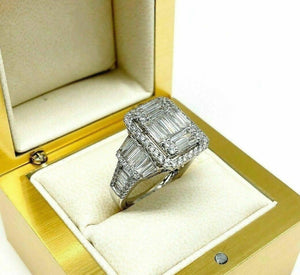 1.98 Carats Diamond Wedding Anniversary Ring Large Invisible Set Halo Center