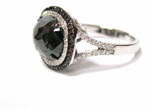 3.50 TCW Natural Oval Black Diamond Cocktail Ring SIze 6.5 14k White Gold